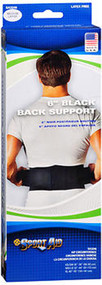 Sport Aid 6 inch Black Back Support Medium to Large - 1 ea.