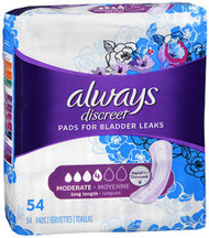 Always Discreet Pads Long Length Moderate Absorbency - 3pks of 54