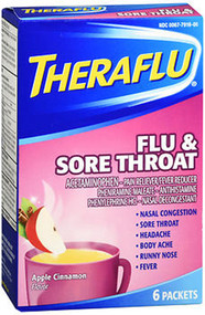 Theraflu Flu & Sore Throat Packets Apple Cinnamon Flavor - 6 ct