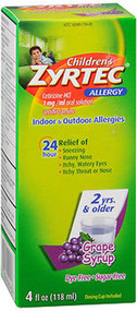 Zyrtec Children's 24 Allergy Syrup Grape - 4 oz
