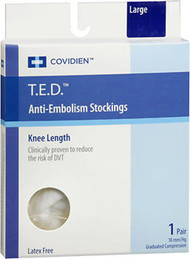 T.E.D. Anti-Embolism Stockings 18 mm/Hg Knee Length White Large - 1 Pair