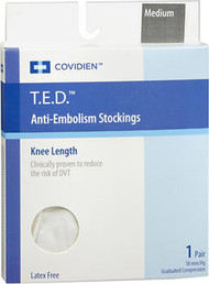 T.E.D. Anti-Embolism Stockings Knee Length Closed Toe White Medium Regular - 1 pair