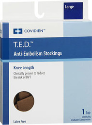 T.E.D. Anti-Embolism Stockings Knee Length Closed Toe Beige Large Regular - 1 pair