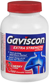 Gaviscon Extra Strength Antacid Chewable Tablets Cherry Flavor - 100 ct