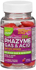 Phazyme Gas and Acid Relief Chewable, 250 mg - 24 ct