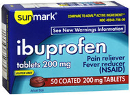 Sunmark Ibuprofen 200 mg Coated Tablets - 50 ct