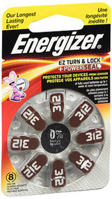 Energizer EZ Turn Lock, PowerSeal Hearing Aid Batteries Size 312  - 8 ct