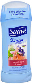 Suave 24 Hour Protection Anti-Perspirant Deodorant Invisible Solid Sweet Pea & Violet - 2.6 oz