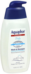 Image of blue and white bottle of Aquaphor Baby Wash & Hair Care Shampoo in 16.9 oz.