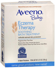 Image of box containing packets of Aveeno baby bath supplies treatment for skin irritation