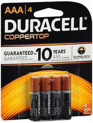 Duracell Coppertop AAA Alkaline Batteries 1.5 Volt - 4ct