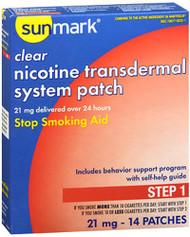 Sunmark Nicotine Transdermal System Step 1 - 21 mg Patches - 14 ct