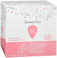 Summer's Eve Feminine Cleansing Cloths Sensitive Skin Sheer Floral Summers - 16 ct