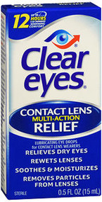 Clear Eyes Contact Lens Multi-Action Relief Eye Drops - 0.5 oz