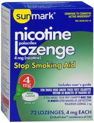 Sunmark Nicotine Polacrilex Lozenge 4 mg Mint - 72 ct