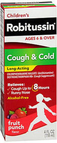 Robitussin Children's Cough Cold Long-Acting Liquid Fruit Punch - 4 oz