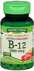 Nature's Truth Sublingual Methylcobalamin B-12 5000 mcg Fast Dissolve Tabs Natural Berry Flavor - 60 ct