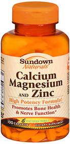 Sundown Naturals Calcium Magnesium and Zinc Caplets - 100 ct
