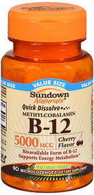 Sundown Naturals Quick Dissolve Methylcobalamin B-12 Microlozenges Cherry Flavor - 90 ct