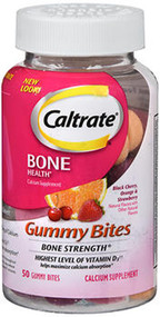 Caltrate Calcium & Vitamin D3 Supplement Gummy Bites Black Cherry, Orange, Strawberry - 50 Ct.