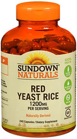 Sundown Naturals Red Yeast Rice 1200 mg per Serving Dietary Supplement Capsules - 240 ct