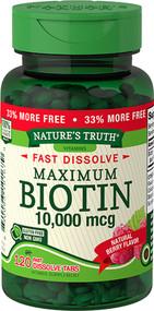Nature's Truth Maximum Biotin 10,000 mg Fast Dissolve Tabs Berry - 120 ct