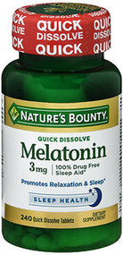 Nature's Bounty Melatonin 3 mg Tablets Triple Strength - 240 Tablets