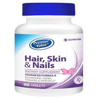 Premier Value Hair, Skin & Nails Vitamin Supplement - Tablet 60 ct ...