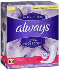 Always Xtra Protection Dailies Liners Extra Long Unscented - 68 ct