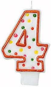 "Polka Dot Birthday Candles - #4, 3"""
