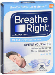Breathe Right Nasal Strips Clear Sensitive Skin Small/Medium - 30 Strips