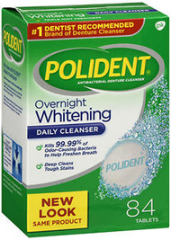 Polident Overnight Whitening Tablets - 84 ct