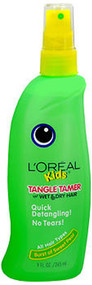 Image of green and yellow bottle of kids hair care Tangle Tamer Spray from L'Oreal