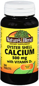 Nature's Blend Oyster Shell Calcium 500 mg + D - 100 Tablets