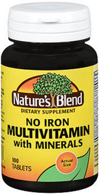 Nature's Blend Multiple Vitamin With Minerals Tablets No Iron - 100 Tablets