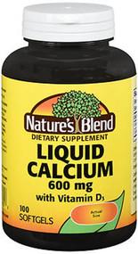 Nature's Blend Liquid Calcium 600 mg with D3 Softgels - 100 ct