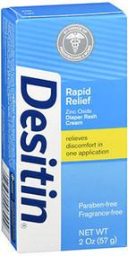 Image of box containing 2 oz. bottle of Desitin Rapid Relief Cream For Rash