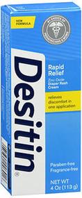 Image of four ounce bottle of Desitin bran rapid relief diaper rash cream.