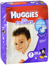 Huggies Little Movers Diapers Size 3 - 4 packs of 25