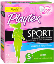 Playtex Sport Tampons Plastic Applicators Super Absorbency Unscented - 18 ea.