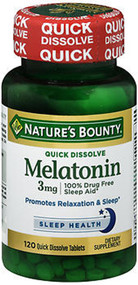Nature's Bounty Melatonin 3 mg Quick Dissolve Tablets Triple Strength Cherry Flavored- 120 ct