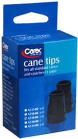 Carex Cane Tips, Standard, Natural Rubber, Black, 7/8""