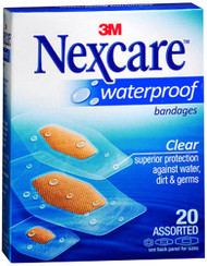 Nexcare Clear Waterproof Bandages Assorted Sizes - 20 Ct.