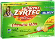 Children's Zyrtec 24 hour Allergy Relief 10mg -12 Dissolve Tablets