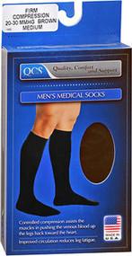 QCS Men's Medical Legwear Socks Firm, Brown Medium - 1 pr