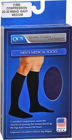 QCS Men's Medical Legwear Socks Firm, Navy Medium - 1 pr