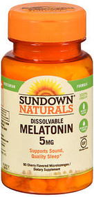 Sundown Naturals Quick Dissolve Melatonin 5 mg Microlozenges Cherry - 90 ct