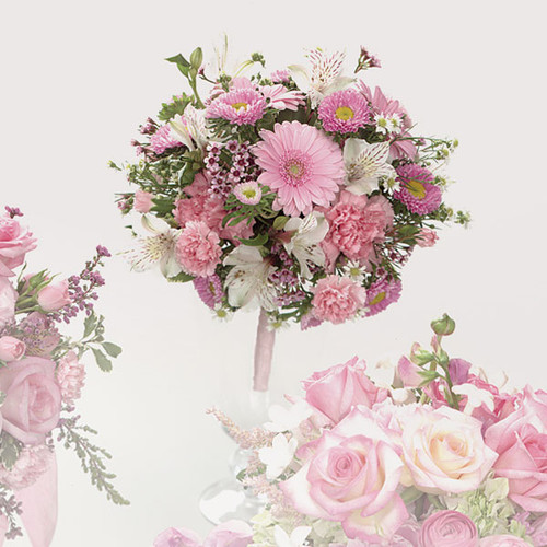 Pink Gerbera Daisy and Carnation Bouquet