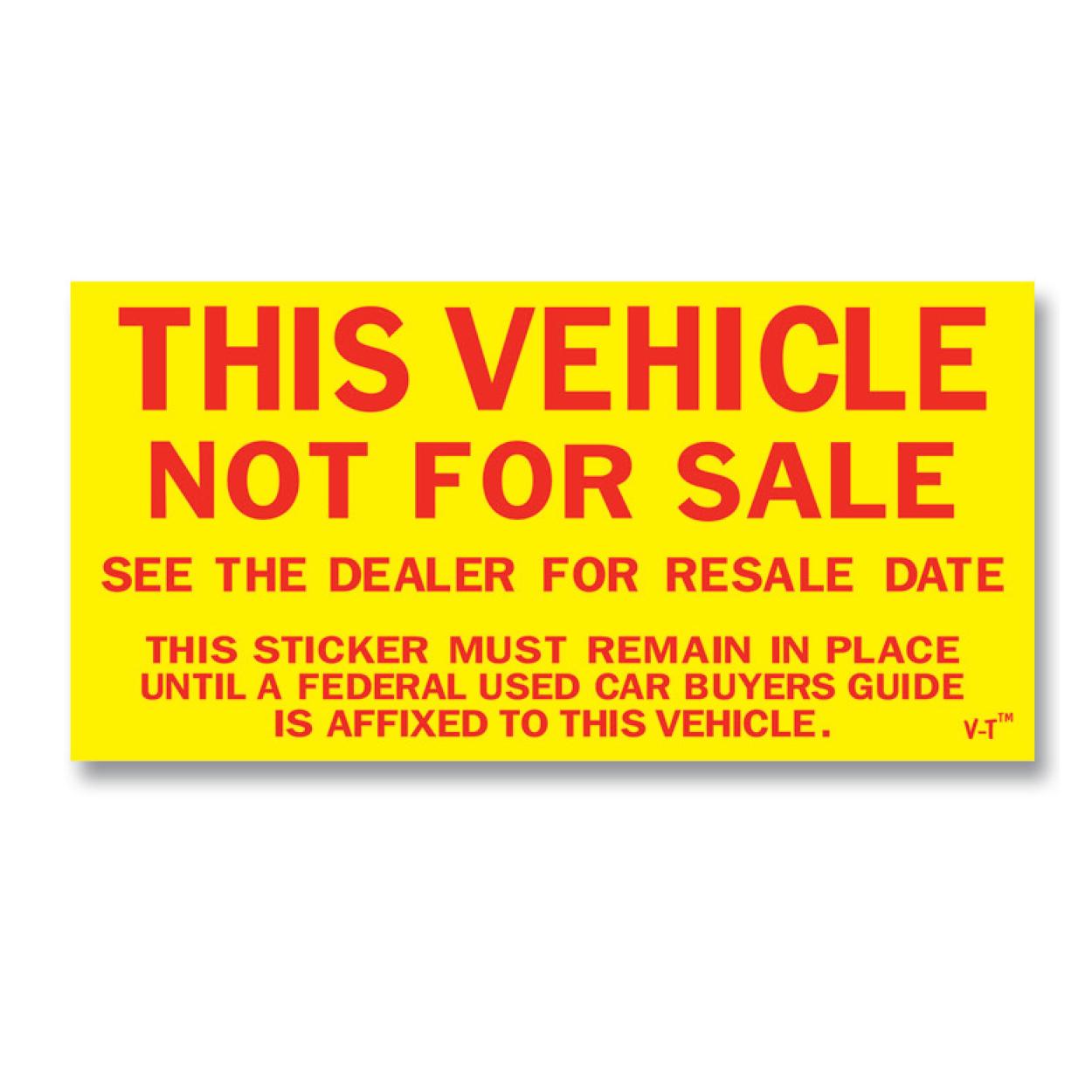 Not for sale outside windshield sticker