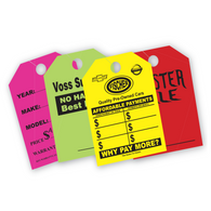"Custom Fluorescent Mirror Hang Tags 9"" x 12"""